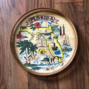 Vintage Florida Map Glass Top Wicker Tray